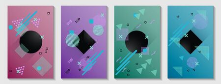 Memphis cover page layouts kit. Front page templates vector set with geometric shapes uprising motion. Abstract memphis geometry covers graphic design for notepads, brochures, posters. Иллюстрация