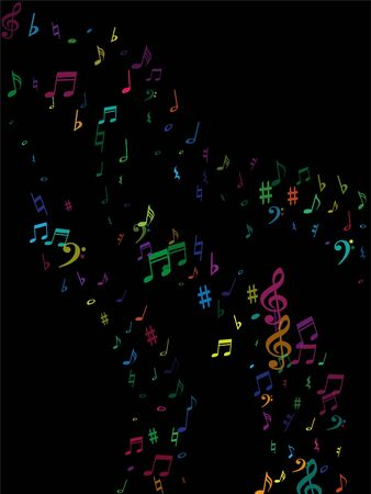 Color flying musical notes isolated on white background. Childish musical notation symphony signs, notes for sound and tune music. Vector symbols for melody recording, prints and back layers.