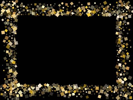 Birthday gold confetti sequins tinsels flying on black. Shiny New Year vector sequins background. Gold foil confetti party decoration illustration. Light dust particles invitation backdrop.