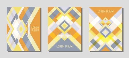 Collection of cover page layouts, vector templates geometric design with triangles and stripes. Ethnic brazilian motifs. Bauhaus pattern vector covers design. Modern rhombus stripe triangle shapes.
