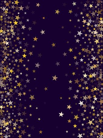 Geometric magic stars gold falling sparkle texture border vector. Glitter confetti, shining sparkles pattern design on dark blue. Glittering golden stars vector gold tinsel lights background.