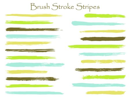 Graffiti ink green brush stroke stripes vector set, horizontal marker or paintbrush lines patch. Hand drawn watercolor paint brushes, smudge strokes collection. Interior colors guide book elements.