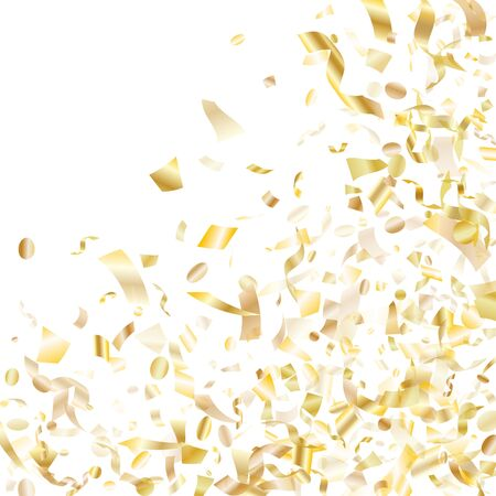 Gold glowing realistic confetti flying on white holiday banner background. Premium flying sparkle elements, gold foil texture serpentine streamers confetti falling party vector. Vettoriali