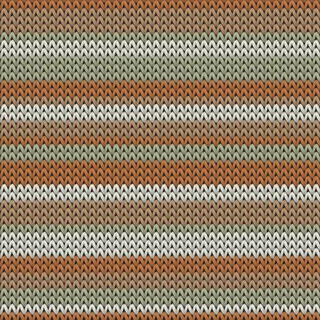 Trendy horizontal stripes christmas knit geometric seamless pattern. Fair isle sweater knitwear structure imitation. Classic warm seamless knitted pattern. Fabric canvas illustration. Ilustrace