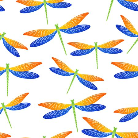 Dragonfly vintage seamless pattern. Spring clothes fabric print with damselfly insects. Flying water dragonfly vector background. Wildlife creatures seamless. Damselfly silhouettes. Vektorgrafik