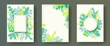 Cute herb twigs, tree branches, flowers floral invitation cards collection. Herbal corners vintage invitation cards with dandelion flowers, fern, mistletoe, olive tree leaves, savory twigs.