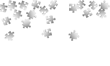 Business teaser jigsaw puzzle metallic silver pieces vector background. Group of puzzle pieces isolated on white. Challenge abstract concept. Game and play symbols.