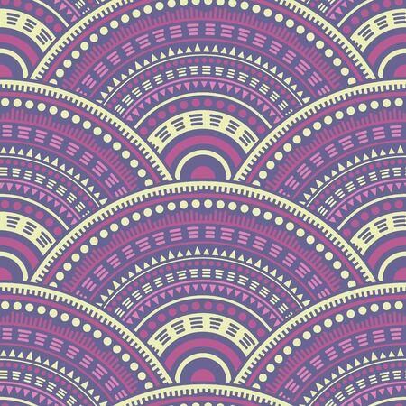Moroccan circle elements patchwork vector seamless pattern. Tribal motifs primitive repeating scallops. Arabic folk overlapping circular shapes seamless geometric pattern. Фото со стока - 140888887