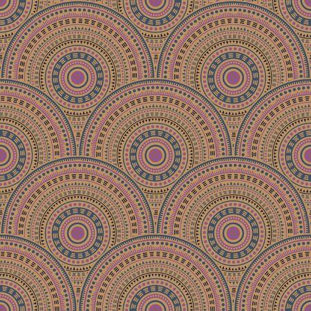 Indian abstract floral carpet design vector seamless pattern. Folk motifs geo repeating scallops. Eastern asian folk circle mandala elements seamless geometric pattern.
