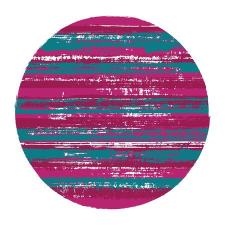 Rough circle vector geometric shape with striped texture of ink horizontal lines. Disk banner with old paint texture. Stamp round shape circle  element with grunge background of stripes.