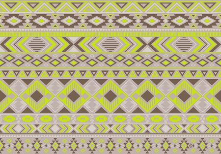 Boho pattern tribal ethnic motifs geometric seamless vector background. Fashionable indian tribal motifs clothing fabric textile print traditional design with triangle and rhombus shapes.