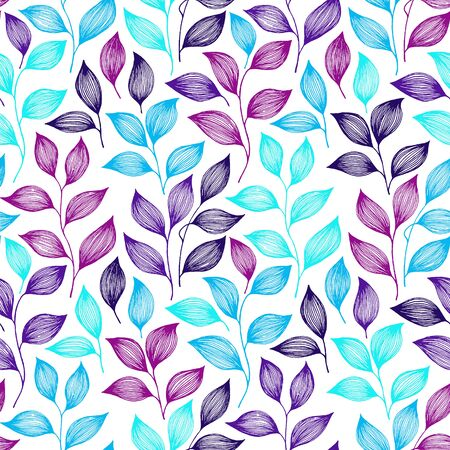 Wrapping tea leaves pattern seamless vector. Minimal tea plant bush leaves floral fabric design. Herbal sketchy seamless background pattern with nature elements. Cute summer foliage wallpaper.