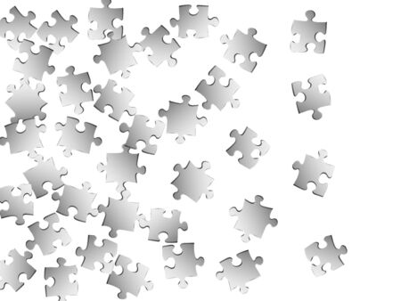 Business riddle jigsaw puzzle metallic silver parts vector illustration. Top view of puzzle pieces isolated on white. Problem solving abstract concept. Game and play symbols.