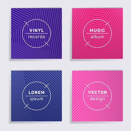 Abstract vinyl records music album covers set. Halftone lines backgrounds. Flat creative vinyl music album covers, disc mockups. DJ records disc vector mockups. Techno party posters.