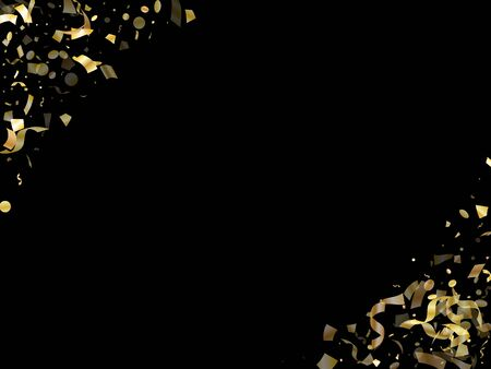 Gold luminous confetti flying on black holiday vector graphic design. Luxurious flying tinsel elements, gold foil texture serpentine streamers confetti falling festive vector.