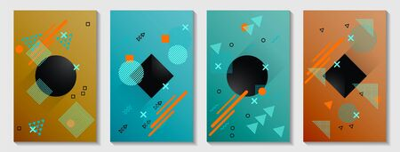 Memphis cover page layouts kit. Vintage front page templates vector set with geometric shapes uprising motion. Abstract memphis geometry covers graphic design for notepads, brochures.