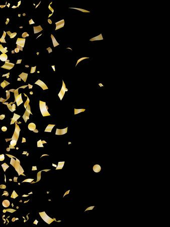 Gold on black glossy holiday realistic confetti flying vector background. Glamorous flying tinsels, foil texture serpentine streamers, sparkles, confetti falling new year background.