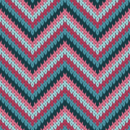 Vintage zigzag chevron stripes knit texture geometric seamless pattern. Jumper knitwear fabric print. Fashionable seamless knitted pattern. Abstract xmas wallpaper. Vettoriali