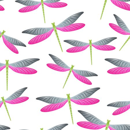 Dragonfly childish seamless pattern. Summer clothes fabric print with darning-needle insects. Graphic water dragonfly vector ornament. Nature creatures seamless. Damselfly butterflies. Vektorgrafik