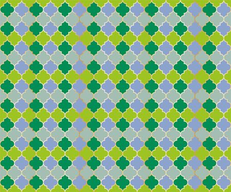 Moroccan Mosque Window Vector Seamless Pattern. Ramadan mubarak muslim background. Traditional ramadan mosque vector pattern with gold grid. Islamic window grid design of lantern shapes tiles.