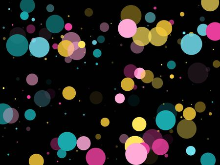 Memphis round confetti modern background in cyan, crimson and gold on black.  Childish pattern vector, children's party birthday celebration background.  Holiday confetti circles in memphis style.  イラスト・ベクター素材