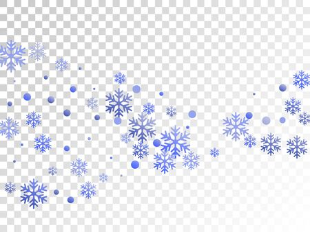 Crystal snowflake and circle elements vector backdrop. Magic winter snow confetti scatter flyer background. Flying gradient snow flakes background, awesome water crystals vector.