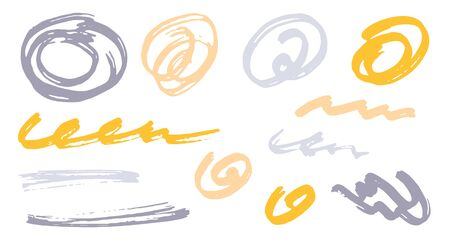 Grunge scribble doodle graphic design vector elements. Cartoon marker traces. Ink brush strokes, round swirls, wavy lines. Scribble scratches, sketch doodle stains. Abstract freehand drawings.