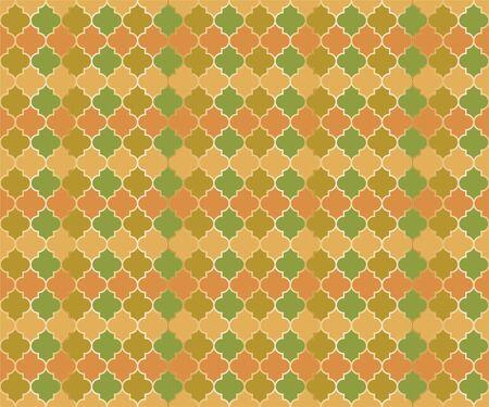Islamic Mosque Window Vector Seamless Pattern. Ramadan mubarak muslim background. Traditional ramadan mosque vector pattern with gold grid. Islamic window grid design of lantern shapes tiles.