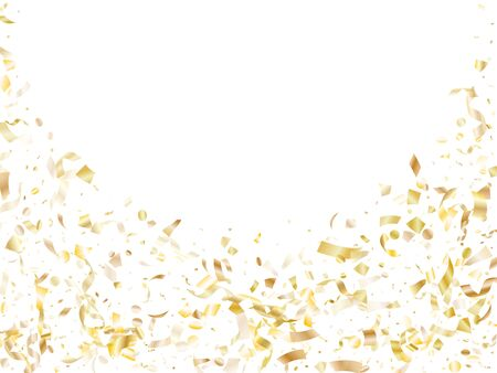 Gold glitter realistic confetti flying on white holiday vector backdrop. Rich flying tinsel elements, gold foil gradient serpentine streamers confetti falling carnival vector. Vettoriali