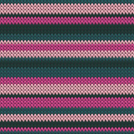 Handmade horizontal stripes knitted texture geometric vector seamless. Jumper knitwear fabric print. Scandinavian style seamless knitted pattern. Fabric canvas illustration.