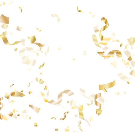 Gold glossy realistic confetti flying on white holiday vector graphics. Modern flying tinsel elements, gold foil gradient serpentine streamers confetti falling xmas background.