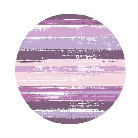 Abstract circle vector geometric shape with stripes texture of ink horizontal lines. Disk banner with old paint texture. Label round shape logotype circle with grunge stripes background. Logo