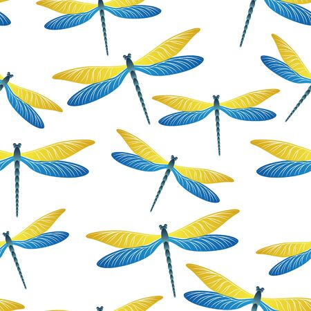 Dragonfly cool seamless pattern. Repeating dress fabric print with darning-needle insects. Flying water dragonfly vector ornament. Nature beings seamless. Damselfly butterflies.
