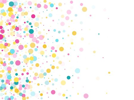 Memphis round confetti airy background in blue, magenta and yellow on white.  Childish pattern vector, children's party birthday celebration background.  Holiday confetti circles in memphis style.