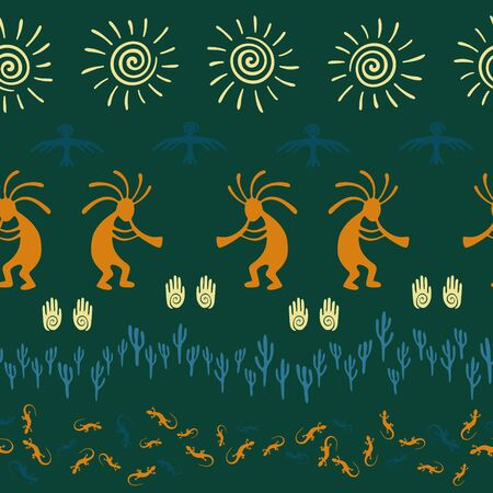 Authentic australian fashion vector ethnic tribal motifs seamless pattern. Folk design with gecko, Kokopelli fertility god, sun, bird, cacti. Australian healing deity pattern. 矢量图像