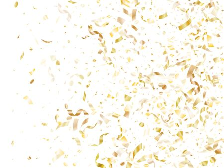 Gold shining realistic confetti flying on white holiday vector design. Luxurious flying sparkle elements, gold foil texture serpentine streamers confetti falling christmas vector.
