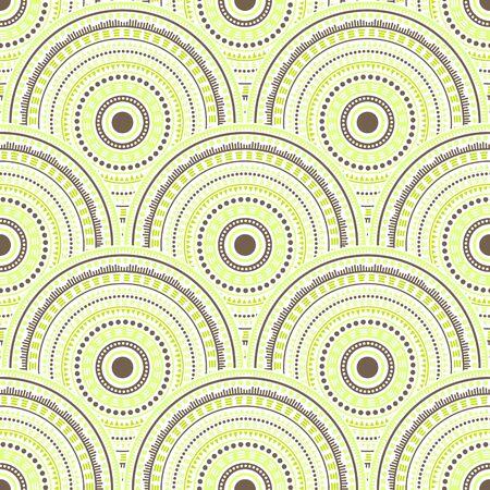 Gypsy mandala circles batik print vector seamless pattern. Ethnic motifs wavy repeating geometry. Romanian folk mandala shapes seamless geometric motifs pattern. Çizim