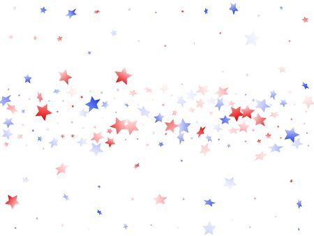 American Memorial Day stars background. Holiday confetti in USA flag colors for Patriot Day. Stylish red blue white stars on white American patriotic vector. Fourth of July stardust scatter.