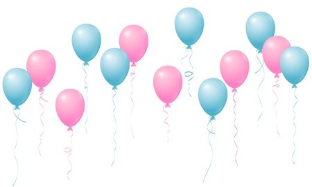 Flying balloons isolated vector illustration, baby shower, birthday party, wedding decoration elements. Bright flying pink blue helium balloons isolated. Party decor, birthday gift elements design.