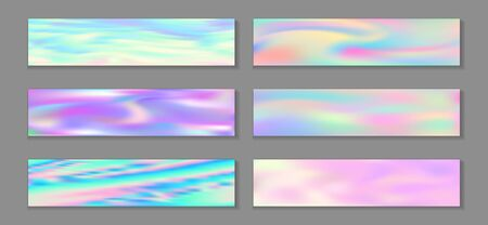 Holographic surreal flyer horizontal fluid gradient mermaid backgrounds vector set. Opalescence hologram texture gradients. Fluid liquid print minimal mermaid backgrounds.