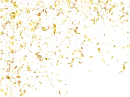 Gold shining confetti flying on white holiday vector backdrop. VIP flying sparkle elements, gold foil gradient serpentine streamers confetti falling festive background.