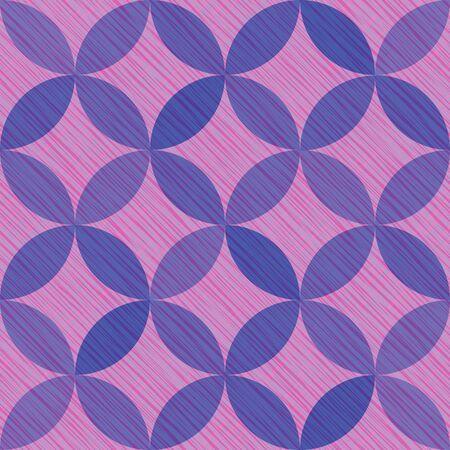 Interlacing circles parts elegant seamless vector pattern. Guatrefoil flower purple diamond lattice endless ornament. Circle elements repeating textile print. Geometric mosaic motifs.