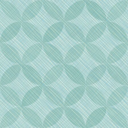 Interlacing circles parts vintage seamless vector pattern. Guatrefoil flower turquoise tessellation endless ornament. Circle elements repeating fabric print. Geometric tile motifs.