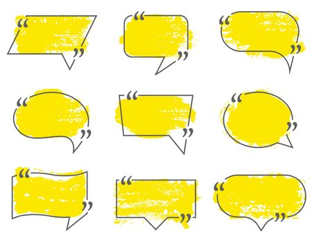 Speech bubbles, quote box frame labels set.