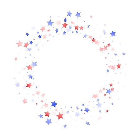 American Memorial Day stars background. Confetti in US flag colors for Independence Day. Solemn red blue white stars on white American patriotic vector. 4th of July holiday stardust.
