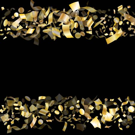 Gold glowing confetti flying on black holiday vector graphic design. Trendy flying sparkle elements, gold foil gradient serpentine streamers confetti falling birthday background.