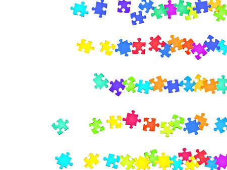 Game tickler jigsaw puzzle rainbow colors pieces vector background. Top view of puzzle pieces isolated on white. Success abstract concept. Kids building kit pattern. Vettoriali