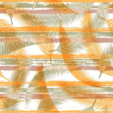 Stylish coconut palm leaves tree branches over painted stripes seamless pattern design. Bali exotic foliage beach fashion fabric print. Tropical leaves silhouettes wallpaper. Vetores