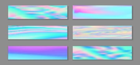 Neon holo minimal banner horizontal fluid gradient unicorn backgrounds vector collection. Iridescent holographic texture gradients. Fluid liquid print fashionable unicorn backgrounds.