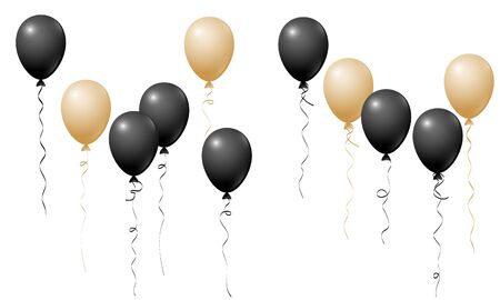 Flying balloons isolated vector illustration, baby shower, birthday party, wedding decoration elements. Bright flying black gold helium balloons isolated. Party decor, birthday gift elements design.